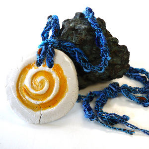Porcelain pendant necklace minimalist fiber art